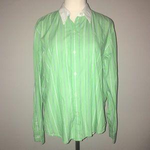 Ralph Lauren Green and white striped button down